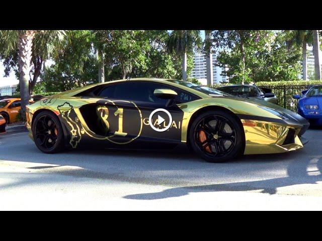 Lamborghini Aventador Crazy Huge Revs Shooting Flames Black Gold