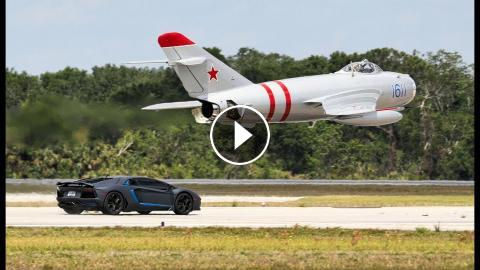 Supercars Vs Russian Fighter Jet Mig 17 Lamborghini Ferrari