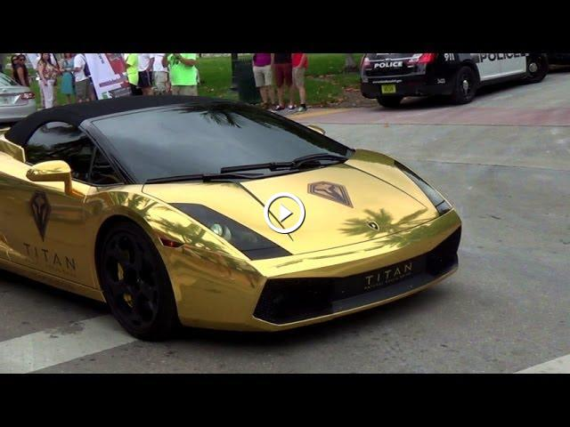 Chrome Gold Lamborghini Gallardo Loud Acceleration REVS Lamborghini  Aventador Nissan GTR McLaren