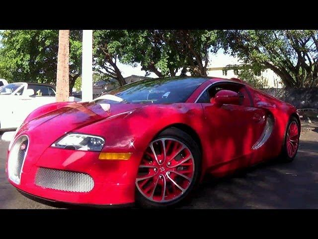 BUGATTI  VEYRON AT FORT LAUDERDALE COLLECTION START UP AND DRIVING!